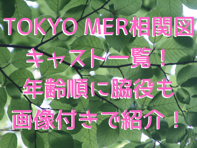 TOKYO MER相関図とキャスト一覧!年齢順に脇役も画像付きで紹介!